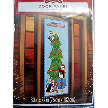 holiday time door panel cover penguins decoraing a christmas tree - Holiday Time Christmas Trees