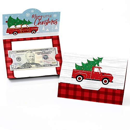 Big Dot of Happiness Merry Little Christmas Tree - Red Truck and Car Christmas Party Money and Gift Card Holders - Set of 8 (Card Truck Christmas)