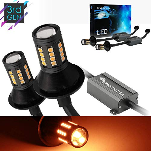 Error Free Canbus Ready Yellow/Amber LED Front/Rear Turn Signal Light Bulbs DRL Parking Lamp No Hyper Flash All in One With Built-In Resistors (3157) ()