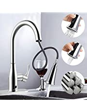 Touchless Kitchen Faucet,Soosi Motion Sensor Single Lever Kitchen Sink Faucets Lead-Free Kitchen Faucets with Pull Down Sprayer Polished Chrome One Hole&3Hole Deck Mount,Spot Free Stainless