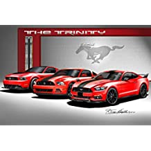 2013 - 2014 - 2015 MUSTANG BOSS 302 / GT / F35 - THE TRINITY- ART PRINT POSTER BY ARTIST DANNY WHITFIELD - SIZE 30 X 40