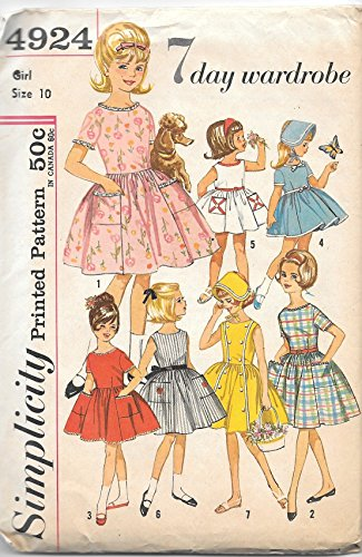 Vintage 1960's Simplicity 4924 Sewing Pattern Girls Full Skirt Dress and Bonnet