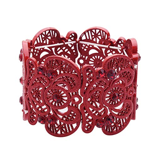 D EXCEED Womens Bohemian Lace Bracelet Vintage Filigree Cuff Bangle Bracelet Wide Stretch Rhinestone Bracelets for Ladies Red