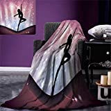 Anniutwo Contemporary Travel Throw Blanket Silhouette Ballerina Performing on Abstract Backdrop Magic Dance Fine Arts Velvet Plush Throw Blanket 60''x50'' Multicolor