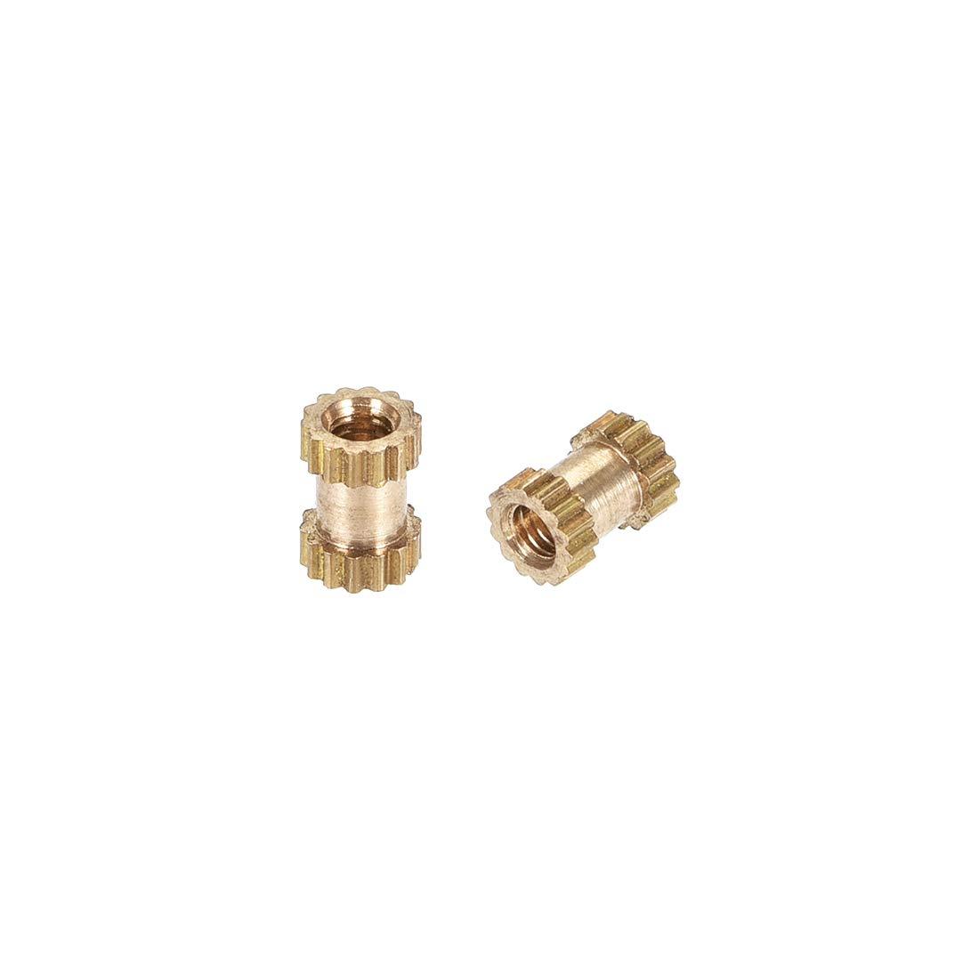 x 3.5mm M2.5 x 6mm Female Thread Brass Embedment Assortment Kit uxcell Knurled Insert Nuts L OD 100 Pcs