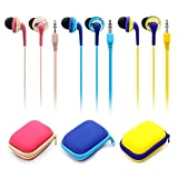 KATEVO Wired Earbud Headphones, Pack of 2, In-ear Headphones Earphones for IOS/Android Smartphone, Laptops, Gaming, All 3.5mm Interface Device, Corded Headsets for Running Jogging Gym Random Color