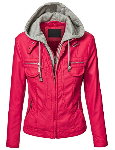 CTC WJC795 Womens Removable Hoodie Faux Fur Lined leather Jacket M MAGENTA
