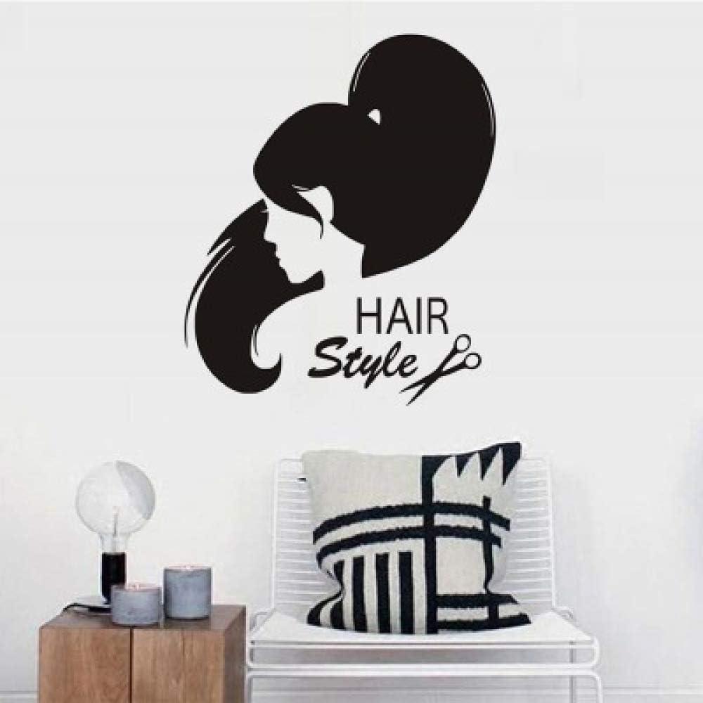 HFWYF Peluquería Popular decoración de la Pared Pegatina de Graffiti Cola de Caballo Belleza Peinado Pegatinas de Pared Autoadhesivas 58 cm x 69 cm