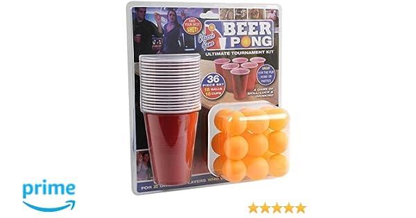 36 Pieza Cerveza Pong Ultimate Torneo Kit Vasos Pelotas Adultos