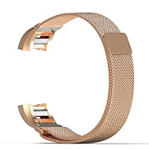 Fitbit Charge 2 Band, MoKo Milanese Loop Stainless Steel Bracelet Smart Watch Strap + Connector for 2016 Fitbit Charge 2 Heart Rate + Fitness Wristband, Wrist Length 5.31