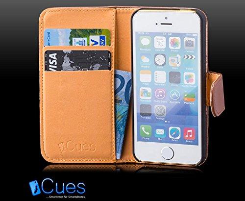 Apple iPhone SE / 5S / 5 | iCues Monedero blanco del bolso | [Protector de pantalla, incluyendo] cuero - libro con bisagras de la manga bolsillo del teléfono celular bolsa protectora para abrir la caj Marron