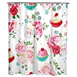 Art Deco Shower Curtain Dimaka Cute Floral Flower Print Shower Curtain for Girls,Bathroom Decoration Design Design Deco Waterproof Curtain,71 W x 71 L