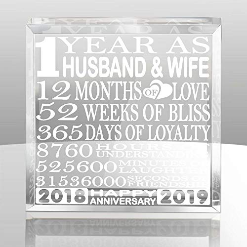 Kate Posh - 1 Year as Husband and Wife - Our First Paperweight and Keepsake - Includes 2018 (Marriage Year) and 2019 (1st Anniversary Year) - 1st for Couples (Best Gift For Husband On First Wedding Anniversary)