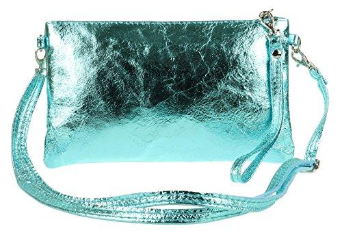 Bag Metallic Genuine Light Blue HandBags Leather Girly Italian Clutch 7qwvnY