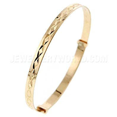 3mm 9ct Gold Expanding Baby Bangle Amazon Jewellery