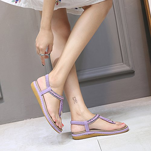 Avec Des Flops Salomés Belloo Élastique Lanières Chaussures Violet Chiquenaude Du Été Boho Peep Sandales orteil Femmes Plates z410q7