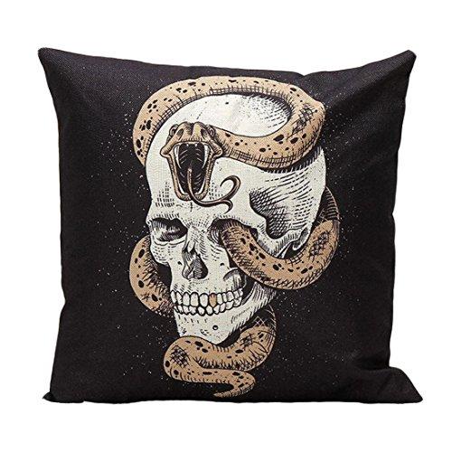 [XILALU Halloween Decoration Skull Pillow Case Sofa Waist Throw Cushion Cover Home Decor (H)] (Halloween Decor For Home)