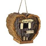 Heart Shaped Birdhouse - Decorative Rough Wood - Little Log Cabin Birdhouse for Newlyweds, Engagement, Housewarming, Honeymoon - Love Shack for Love Birds - Wooden Bird Feeder