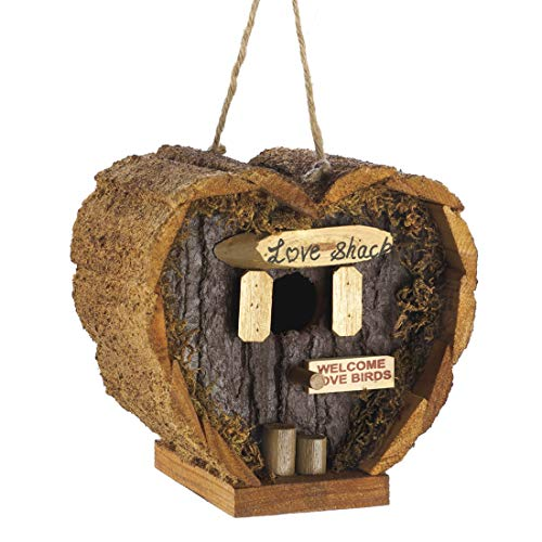 Heart Shaped Birdhouse - Decorative Rough Wood - Little Log Cabin Birdhouse for Newlyweds, Engagement, Housewarming, Honeymoon - Love Shack for Love Birds - Wooden Bird Feeder (Couple Bird)