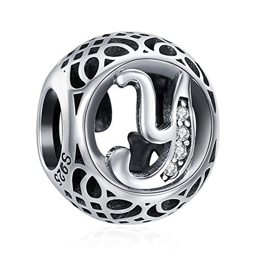 925 Sterling Silver Alphabet Letter Y Charms Initial Cubic Zirconia Charms Beads for Bracelets Necklaces