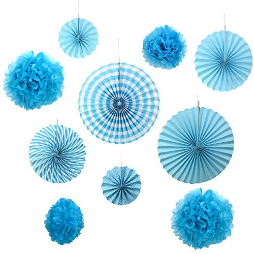 Set of 10 Blue Paper Fans Rosettes Hanging Ornament Birthday