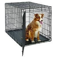 Caja de perro grande | Etapas de la vida de MidWest Caja de metal plegable para perros | Panel divisor, pies que protegen el piso, bandeja para perros a prueba de fugas | 42l x 28W x 31H pulgadas, perro grande