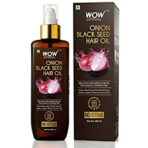 WOW Skin Science Onion Black Seed Hair Oil – Controls Hair Fall – No Mineral Oil, Silicones & Synthetic Fragrance…
