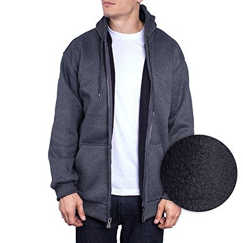 Wholesale Zip Up Hoodies (Mens Jacket Zip Up Hoodie Thermal Shell Sherpa Fleece Lining Sweater (XXX-Large, Heather Grey))
