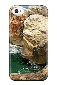 Tpu Case Cover Compatible For Iphone 4/4S Hot Case/ Ocean Rock Photos