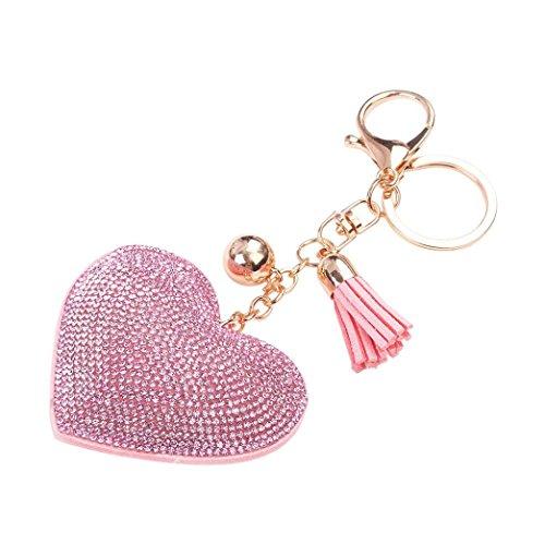 Clearance!Key Chain,Canserin Love Rhinestone Tassel Keychain Key Ring (Pink)