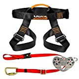 Fusion Climb Pro Backyard Zip Line Kit Harness Lanyard Trolley Bundle FK-A-HLT-16