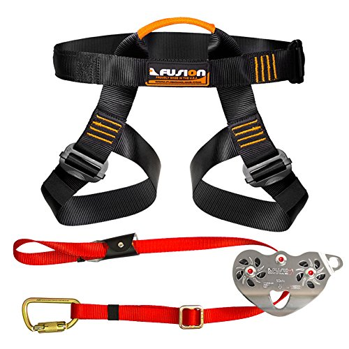 Fusion Climb Pro Backyard Zip Line Kit Harness Lanyard Trolley Bundle FK-A-HLT-16 by Fusion Climb
