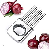 IPEC THERAPY Onion Holder Vegetable Potato Cutter Slicer Gadget Stainless Steel Fork Slicing Odor, Remover Kitchen Tool Aid Cutting Chopper, Pack of 1
