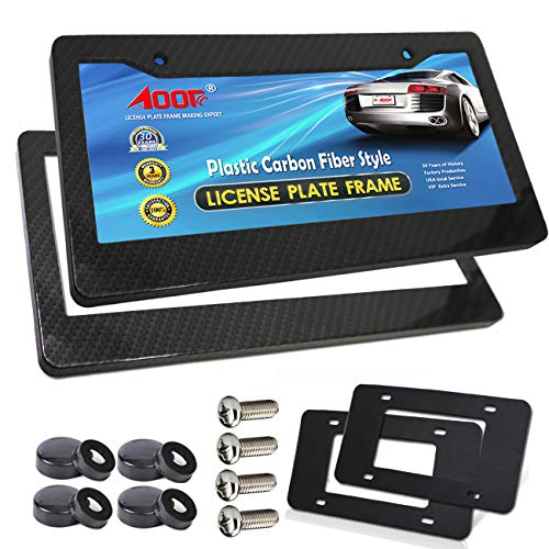 APSG License Plate Frame Carbon Fiber Print Black//Set of 2 Frames Front /& Rear with Hardware APSG Screws Cover PREMIUM CRAFTED
