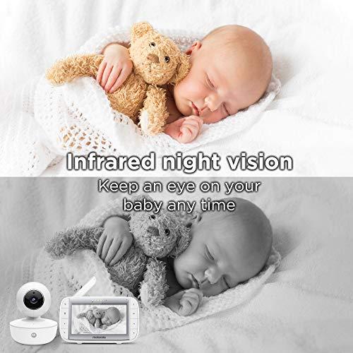 "518U79JnDqL - Motorola Video Baby Monitor 5"" Color Parent Unit, Remote Pan/Tilt/Zoom, Portable Rechargeable Camera, Two-Way Audio, Night Vision, 5 Lullabies, MBP36XL"
