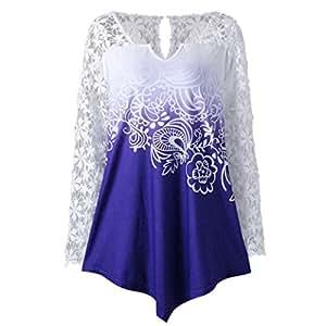 Las mujeres blusa, y # x2764; Y # xFE0F; familizo señoras impresión encaje camiseta camisa de manga larga Casual Tops blusa de mujer sin mangas para ropa de mujer baggy Jumper azul azul blouse l