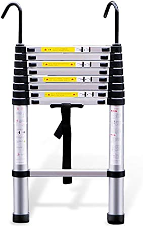 Escalera de aluminio Escalera telescópica de extensión 2M-6M con gancho Escalera telescópica portátil for trabajo pesado for ascensores Constructores de viviendas Ático Loft (Size : 4.4m/14.4ft) : Amazon.es: Hogar