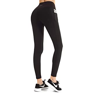 FETY Women's High Waist Leggings Full-Length Yoga Pants with Side/Hidden Pockets, Tummy Control Workout Running 4 Way Stretch Pants for Women