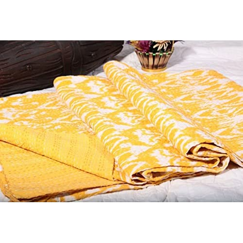 khushvin Indian ikat Kantha Quilt Throw Indian Handmade Cotton Bedspread King Bedding Hippie Decorative Ralli Boho Throw Blanket Bedding Kantha Work Bed Cover Quilt Cotton Kantha Bedspread hot sale