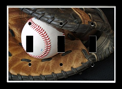 Triple Toggle (3-toggle) Light Switch Plate Cover - Sports Recreation - Baseball and Glove