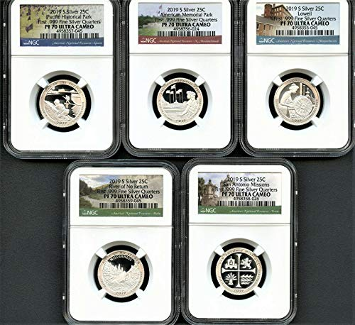 2019 S America the beautiful 2019 S Silver Quarter Set First .999 Fine Silver Quarters NGC PF70 Ultra Cameo 2019 S Silver Quarter Set First .999 Fine Silver Q PR-70