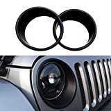 DIYTuning Black Bezels Front Light Headlight Trim Cover for Jeep Wrangler JK JKU Unlimited Rubicon Sahara Sport Exterior Accessories Parts 2007 2008 2009 2010 2011 2012 2013 2014 2015 2016 2017