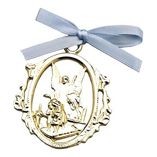 Cathedral Art CM1B Angel Protecting Children with Blue Ribbon Baby Crib Medal, 3-Inch by Cathedral Art