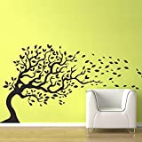 "BATTOO Blowing Tree Wall Decal Flying Leaves in the Wind - Removable Vinyl Decal Modern Tree Decal Sticker(77"" tall,white)"