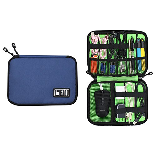Travel Electronics Cable Organizer Bag,Dark Blue Electronics Accessories Case for Cords,Cable,Charger,Power Bank,Battery Pack,Hard Drives,Usb Gear,Earphone,Flash (Battery Charger Cable Case)