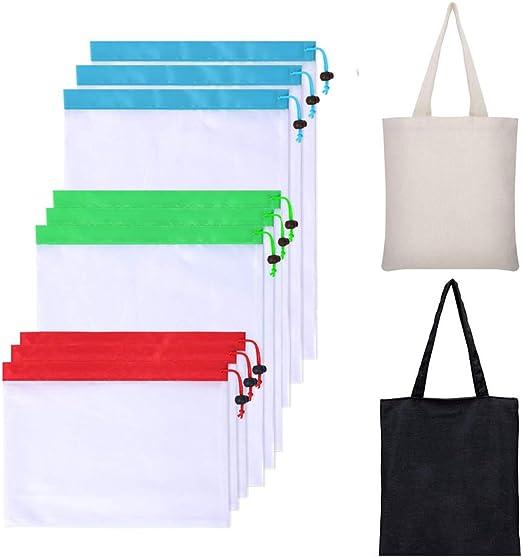 Bolsas reutilizables plegables para comestibles, 2 bolsas de lona ...