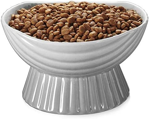 Y YHY Ceramic Dog Bowls,24 Ounce Dog Dishes,Dog Food Bowls,Raised Pet Bowl with Wide Neck for Food and Water, Cat Food Bowls,Protect Pet's Spine,Elevated Cat Bowls,Anti Vomiting,Dishwasher Safe,Grey