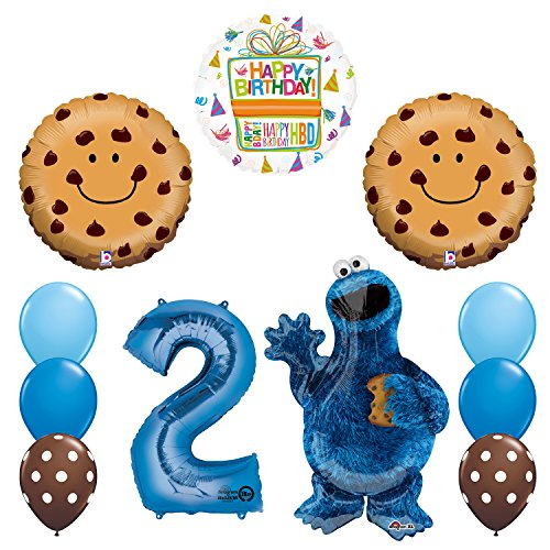 Sesame Street New Cookie Monsters 2nd Birthday Party Supplies and Balloon Decorations -