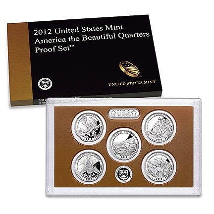 2012-S Proof National Parks Quarters 5-coin Set OGP in box with COA