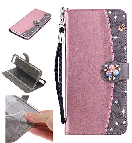 Shinyzone Leather Wallet Case for iPhone 8 Plus/iPhone 7 Plus,Premium PU Embossed Sunflower Pattern with Diamond Pearl Magnetic,Transparent Soft TPU Flip Cover,Rose Gold and Grey ()